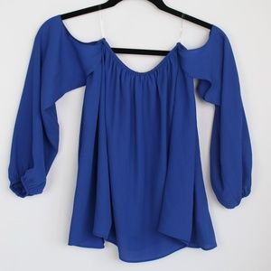 Shinestar blue off the shoulder long sleeve top